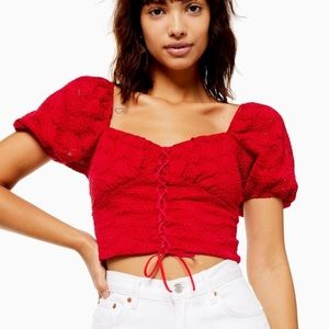 Topshop Two Tone Lace Crop Top